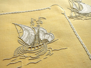 Old Ships & Sea Monsters Marghab Vintage Madeira Embroidery - 6 Placemats