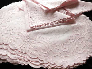 Arabesque in Pink Vintage Madeira Embroidery Oval Placemat Set - Setting for 8