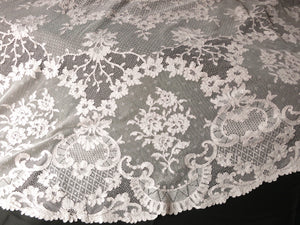 "Vintage 84"" Round Pink Alencon Lace Tablecloth, Made in France"