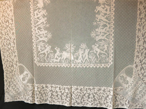 Calydonian Boar Hunt Antique French Alencon Lace Tablecloth 68x108