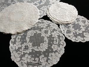 Antique French Alencon Lace Tea Dessert 13pc Table Set - Setting for 6