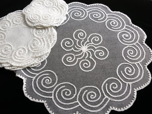 Art Deco Spirals Antique Net Lace Tea Dessert 13pc Table Set - Setting for 6