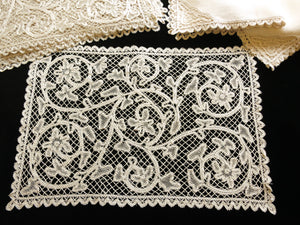 Scrolling Flowers Antique Italian Bobbin Lace Placemat Set - Setting for 12