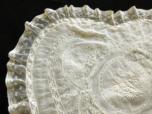 Heart Shaped Antique French Normandy Lace Pillow Sham Oversized Romance