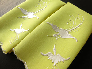 Birds of Paradise Vintage Madeira Embroidery Linen Guest Towels - Set of 2