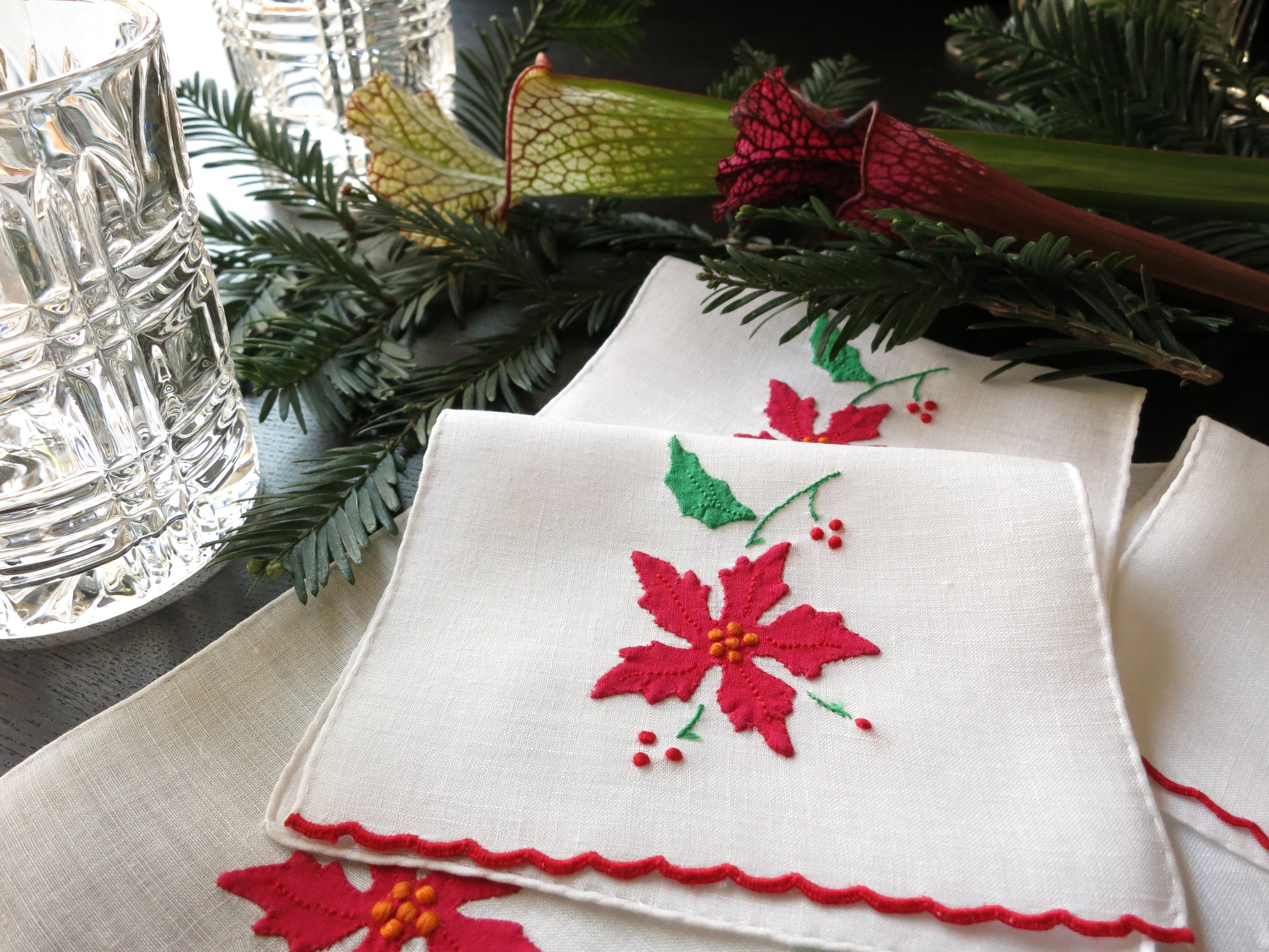 Poinsettias Vintage Madeira Embroidery Holiday Cocktail Napkins - Set of 6
