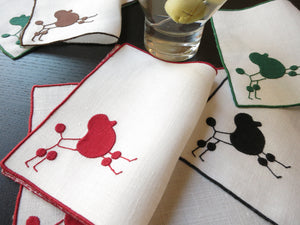Mid Century Modern Poodles Vintage Madeira Linen Cocktail Napkins - Set of 8