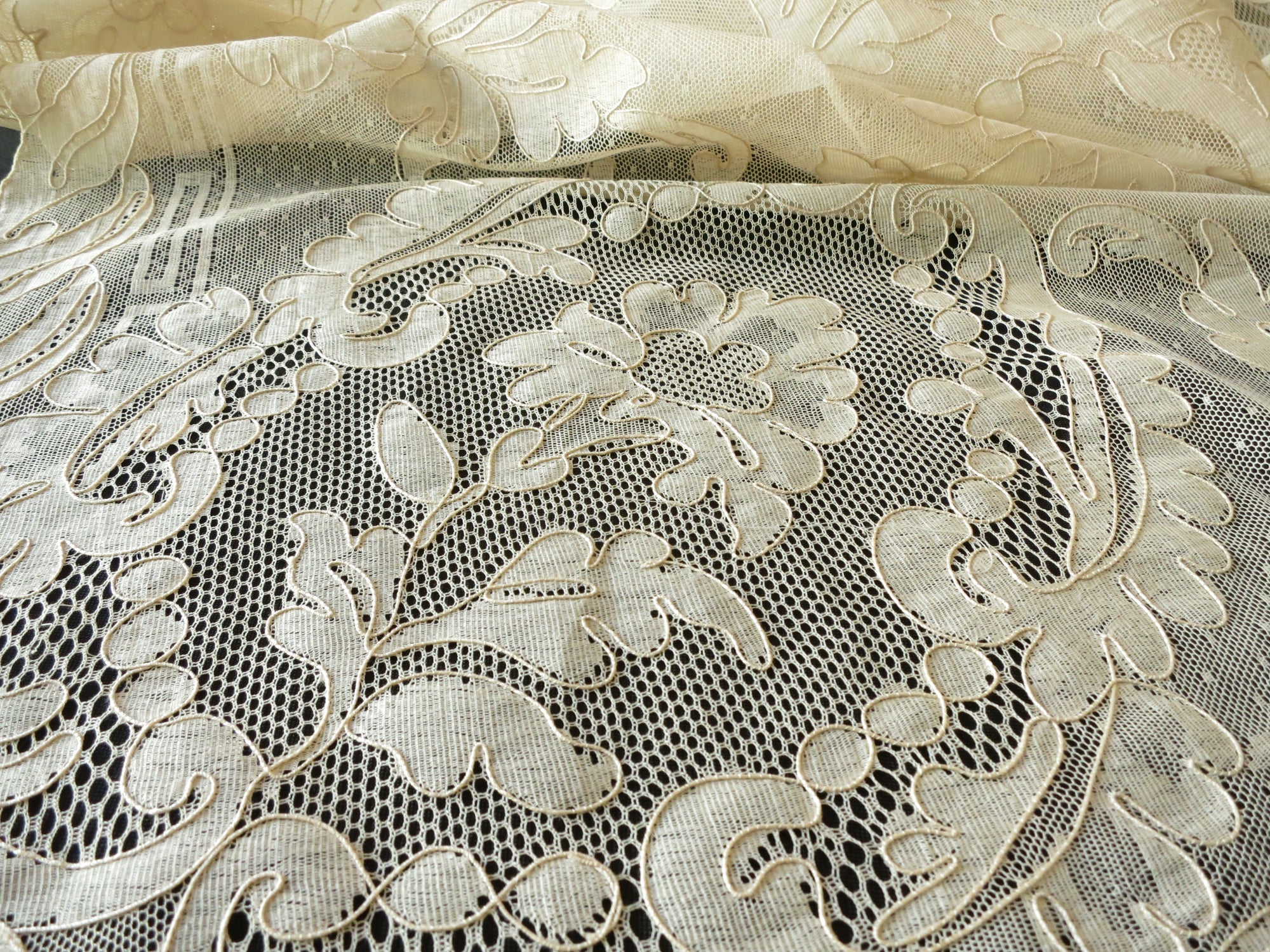 Beautiful Vintage French Alencon Lace Tablecloth 12 Napkins 72x108