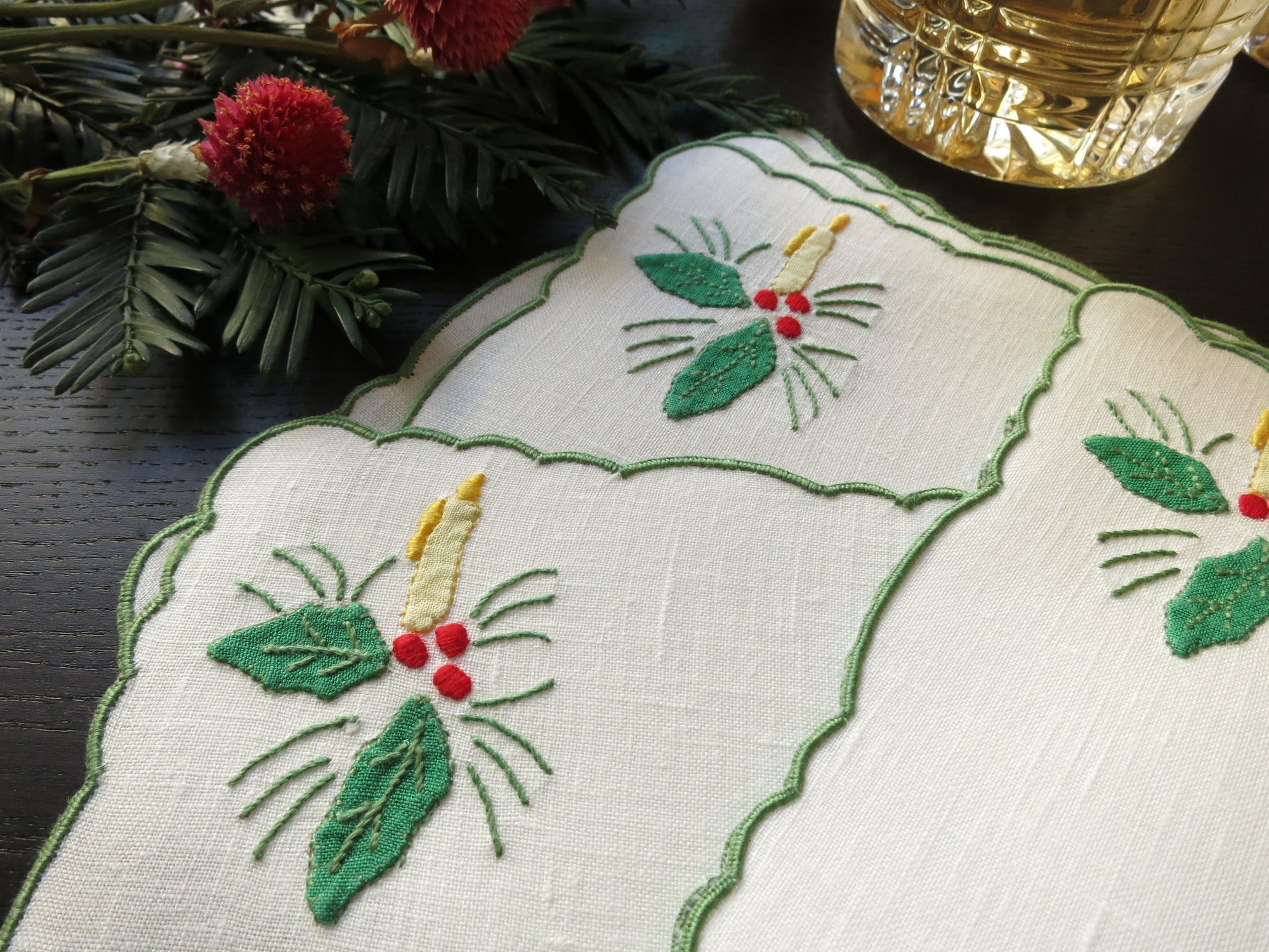 Christmas Candles & Holly Vintage Madeira Cocktail Napkins  - Set of 6