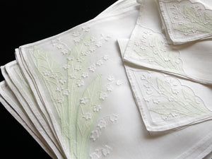 Lily of the Valley Vintage French Hand Embroidery Placemat Set ~Setting for 6