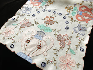 Colorful Urns & Flowers Vintage Madeira Embroidery Table Runner 17x42""