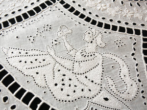 "Antique French Embroidery 32"" Tablecloth— Beyond Ayrshire/Appenzell Quality"