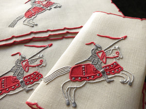 """Knight"" In Red Vintage Marghab Linen Cocktail Napkins ~ Set of 6"