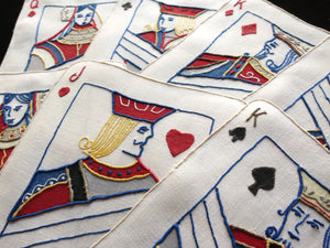 Face Cards Vintage Madeira Embroidered Linen Cocktail Napkins - Set of 8