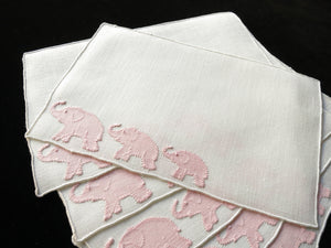 Pink Elephant Walk Vintage Madeira Linen Cocktail Napkins ~ Set of 6