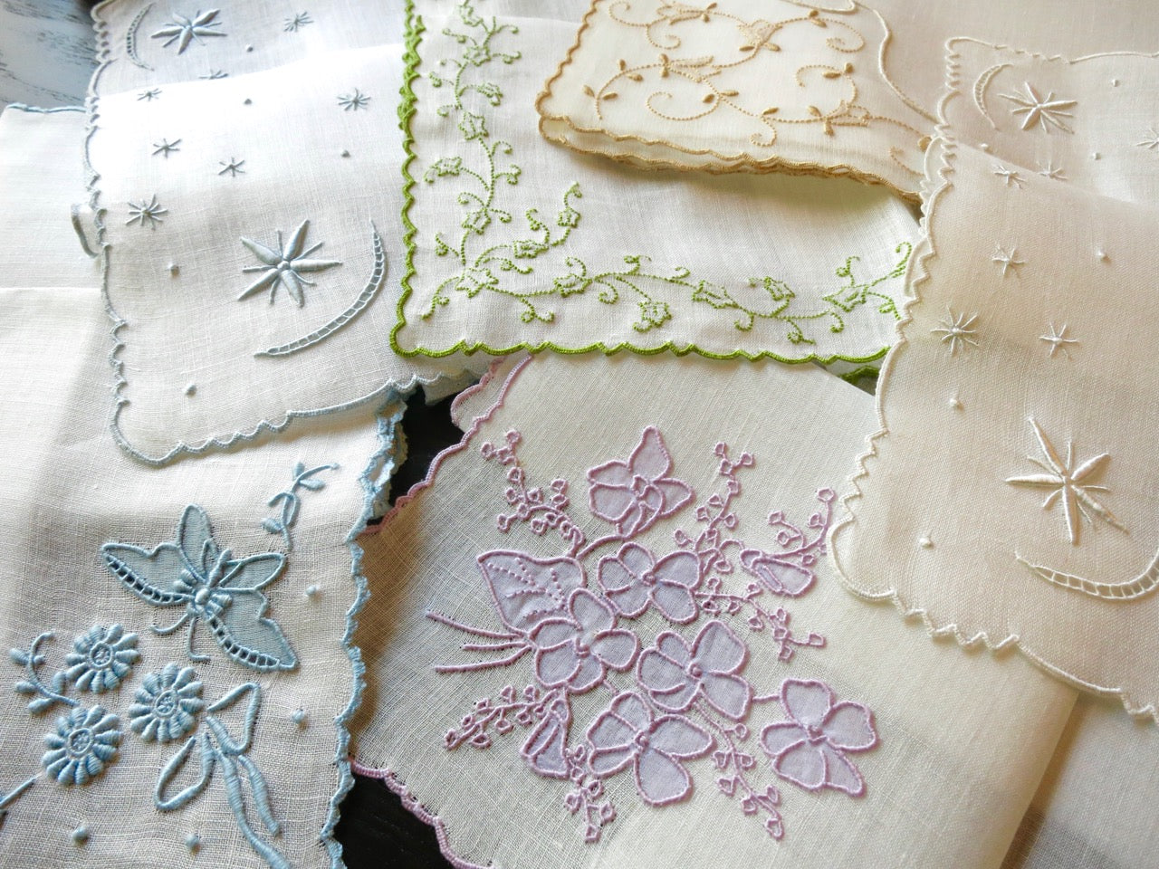 Beautiful Assortment Marghab Vintage Handkerchiefs, Fine Madeira Embroidery