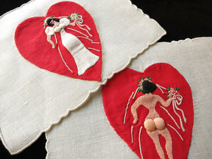 Naughty~ Hearts, Padded Assets Madeira Embroidered Cocktail Napkins - Set of 8