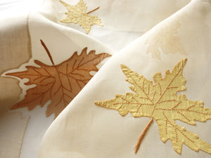 Autumn Leaves Vintage Madeira Embroidery Organdy Tablecloth 68x86