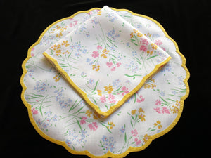 Fleur de Champs Vintage D Porthault Flax Linen Placemat Set - Setting for 4