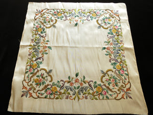 Gorgeous 18th-19th Century European Embroidery on Silk ~ Richly Colored Florals