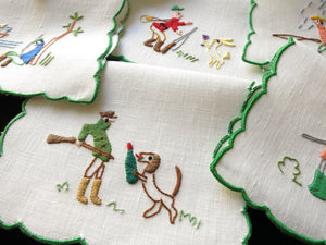 Hunting Party Vintage Italian Embroidered Cocktail Napkins - Set of 6