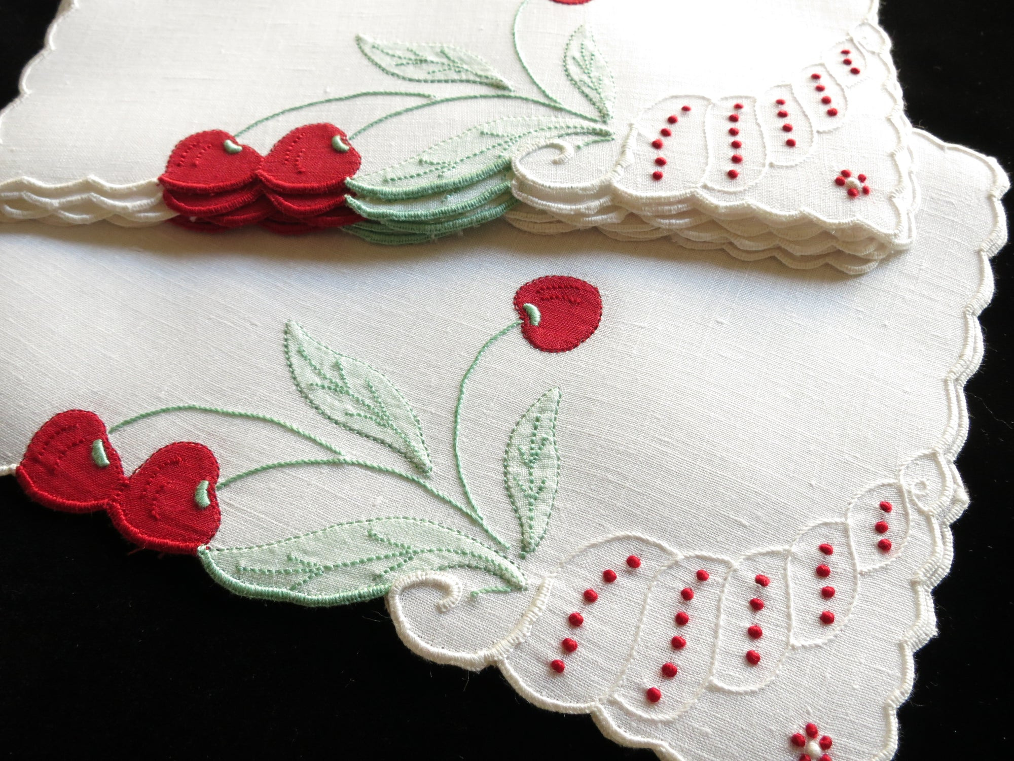 Bounty of Cherries, Vintage Madeira Embroidered Cocktail Napkins - Set of 8