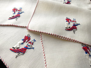 Mambo Cha Cha Vintage Embroidered Cocktail Linen Napkins ~ Set of 6
