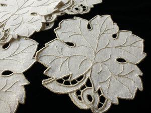 Leaf Shaped Vintage Madeira Embroidered Cocktail Napkins - Set of 6