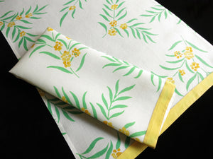 Yellow Flowers ~ Pair of Flax Linen Guest Towels Vintage D Porthault