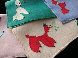 Christmas Poodles Vintage Italian Linen Cocktail Napkins - Set of 6