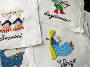 Vintage Zodiac Madeira Linen Hand Embroidered Cocktail Napkins - Set of 12