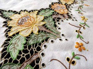 Sunflowers Antique Madeira Embroidery Cutwork Linen Tablecloth 56x90""