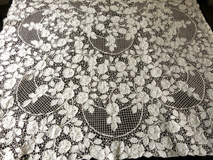 Roses on Trellis Antique Madeira Embroidery Linen Tablecloth 52x140""