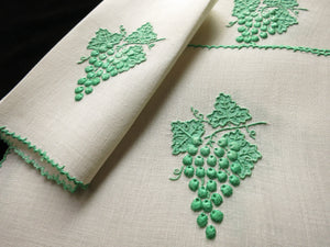 "Green ""Grape & Leaf"" Vintage Marghab Madeira Cocktail Napkins - Set of 6"