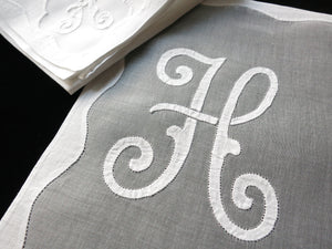 """H"" Monogram Vintage Madeira Embroidery Organdy Placemat Set - Setting for 8"