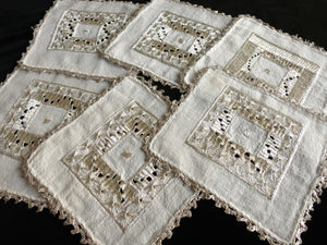 Metallic Ottoman Embroidery Antique Linen Cocktail Napkins - Set of 6
