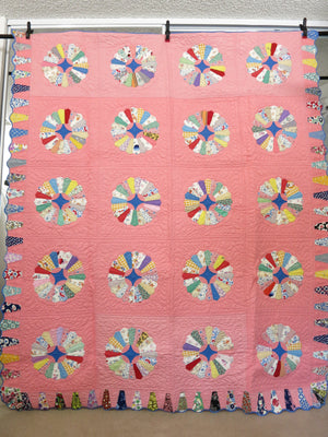 Dresden Plate Vintage Quilt Pink with Ice Cream Border 1930s