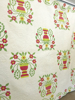 American Treasure ~ Flowers & Urns Antique Quilt c1850, 82x102""