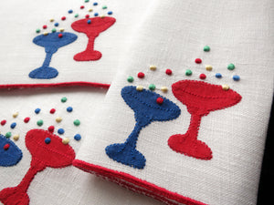 Colorful Bubbly Champagne Vintage Embroidered Linen Cocktail Napkins - Set of 6