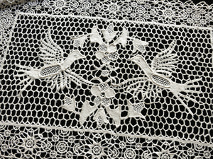 Birds in Needle Lace & Reticella Vintage Set - 8 Placemats, plus Runner