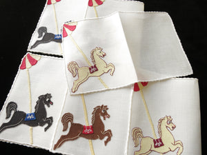 Carousel Horses, Vintage Madeira Embroidered Cocktail Napkins - Set of 6