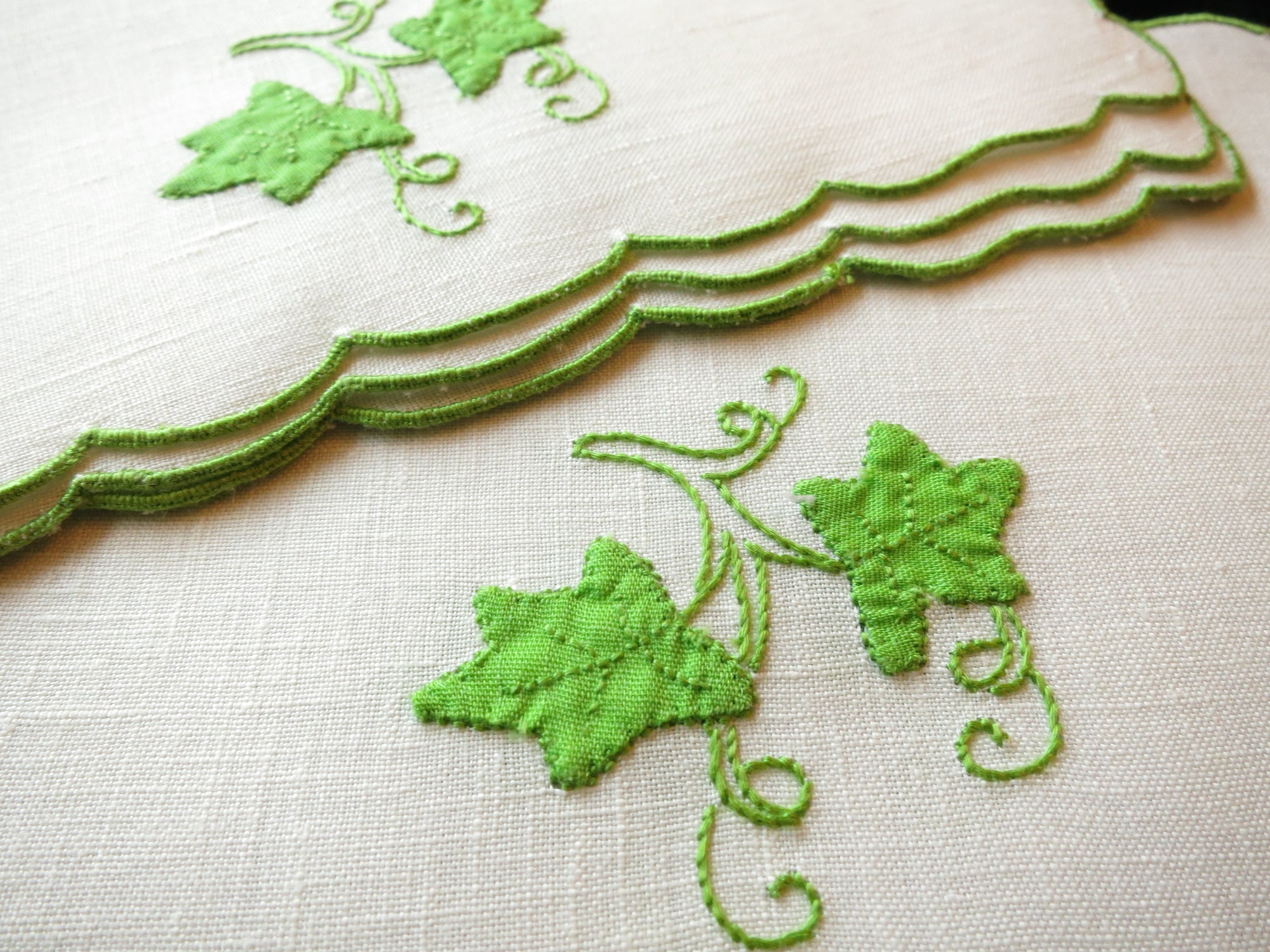 Green Ivy Vintage Madeira Embroidery Linen Cocktail Napkins ~ Set of 6
