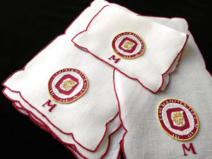 University of Minnesota Vintage Madeira Linen Cocktail Napkins - Set of 6