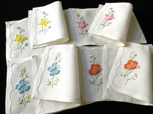 Colorful Butterflies Vintage Madeira Embroidery Cocktail Napkins - Set of 8