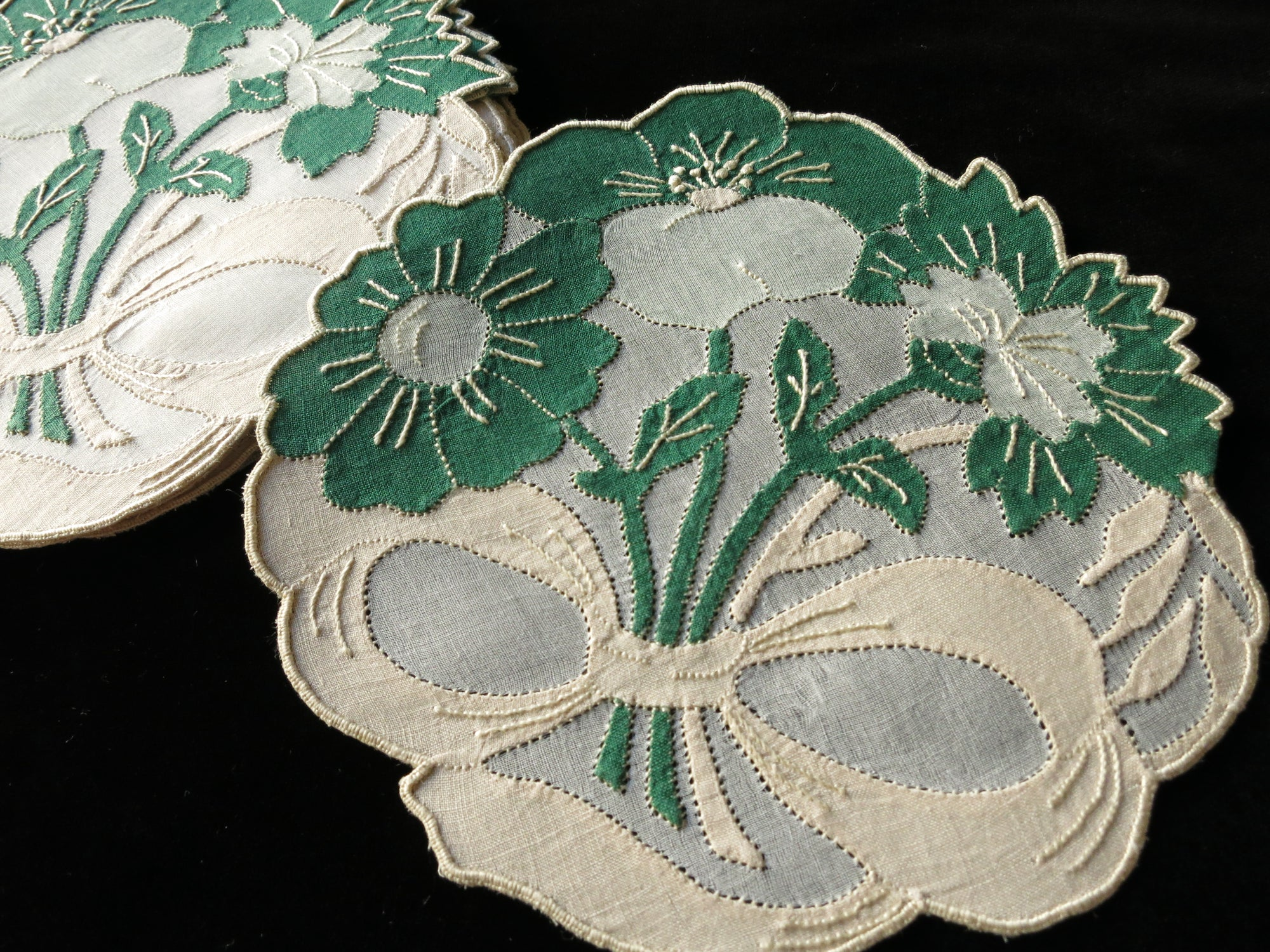 Green Flower Bouquets Vintage Madeira Embroidery Cocktail Rounds Napkins - Set of 8