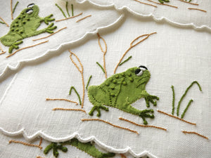 Madeira Embroidery Cocktail Napkins Bug Eyed Frogs