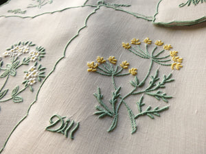 Herbs Dill Oregano Vintage Madeira Hand Embroidery Linen 5 Cocktail Napkins