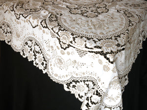 antique madeira densely embroidered large tablecloth