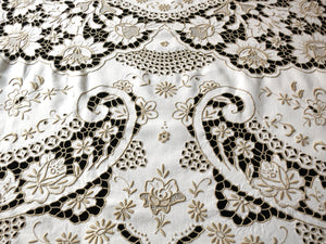 Spectacular Antique Madeira Densely Embroidered Tablecloth 62x102""