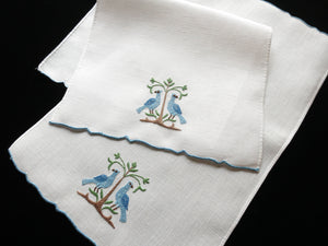 Blue Pheasants Vintage Madeira Embroidered Linen Guest Fingertip Towels Set of 2